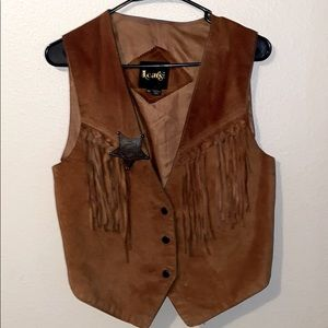 Learsi Fringe Leather Vest w Badge(USED CONDITION)